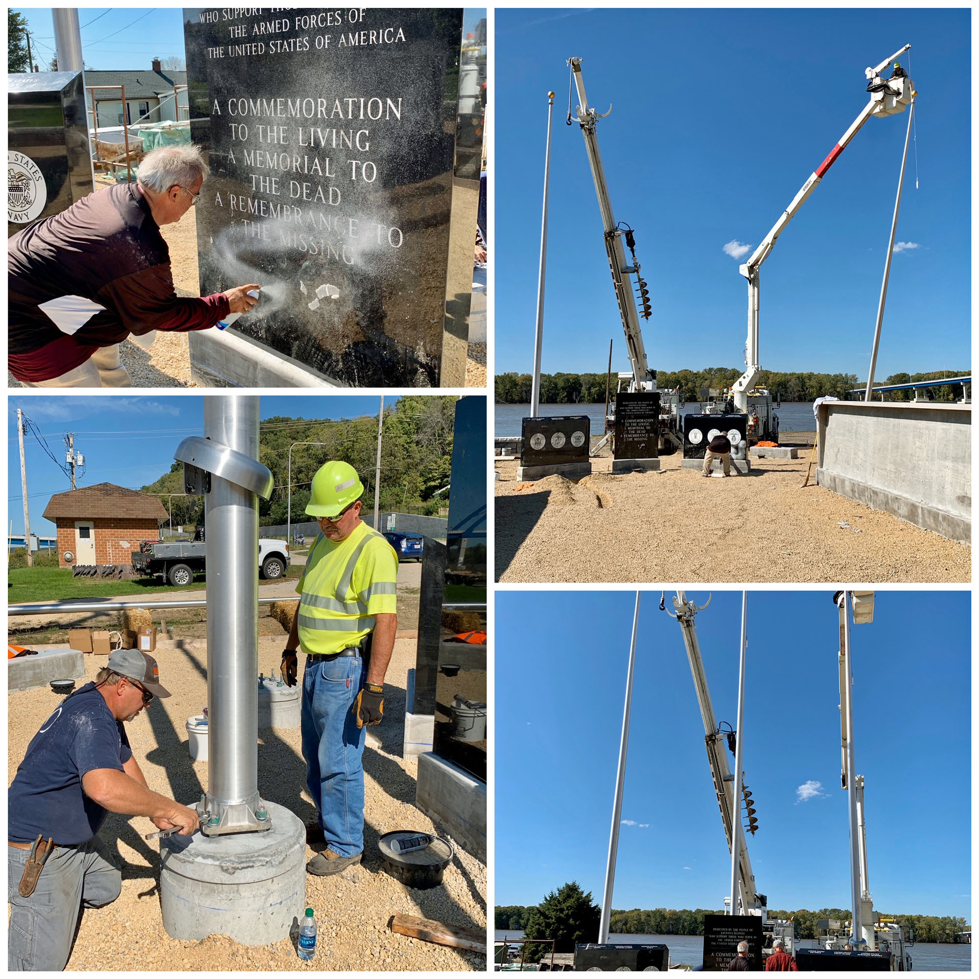 Photos of the main Monuments and Flag Poles being installed.